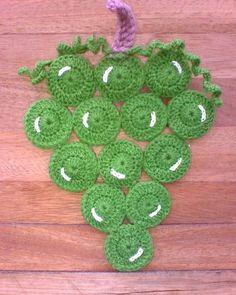 Frutas tejidas a crochet paso a paso por Patty Hübner Slip Stitch Crochet, Filet Crochet, Crochet Motif, Diy Crochet, Crochet Stitches, Crochet Hot Pads, Crochet Towel, Crochet Potholders, Crochet Flower Patterns