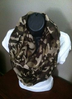 Camouflage infinity scarf $10.  Available at Always Chic Boutique.