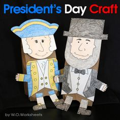 Create George Washington and Abraham Lincoln puppets for President's Day with these easy to color and cut templates. You will need brown paper lunch bags to create the puppets. Each puppet will look unique for the students will draw the faces on.