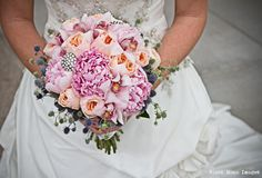 pink and peach bridal bouquet with brooches by Fleurt Floral Art