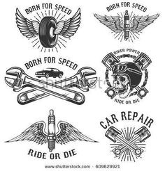 Vector set of vintage bikers logo. Retro hand sketched