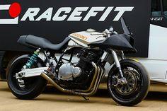 Suzuki Katana by Racefit. Suzuki Cafe Racer, Bobber Custom, Custom Motorcycles, Custom Bikes, Katana, Street Fighter Motorcycle, Suzuki Motorcycle, Suzuki Bikes, Motorbike Photos