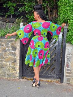 Your place to buy and sell all things handmade JANA Kimono sleeve dress African Dresses For Women, African Print Dresses, African Attire, African Wear, African Fashion Ankara, African Print Fashion, Satin Cocktail Dress, Ankara Designs, African Traditional Dresses