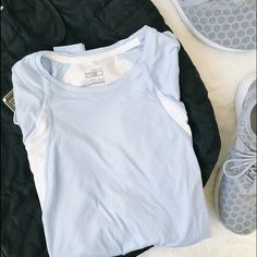 Nike Dri-Fit Top Long-sleeve baby blue and white Nike top. Reflective and breathable.   Please make all offers through the offer button  10% off with bundle  No trades/PayPal  Instagram: laurentopor Nike Tops