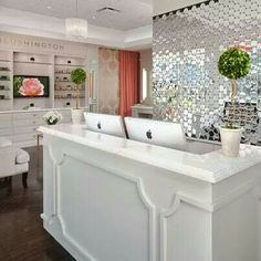 I love the Decor of this salon. With all the white and the lovely tiles on the wall behind reception. Decor, Beauty Lounge, Store Decor, Spa Decor, Interior, Salon Decor, Spa Design, Beauty Salon, Home Decor