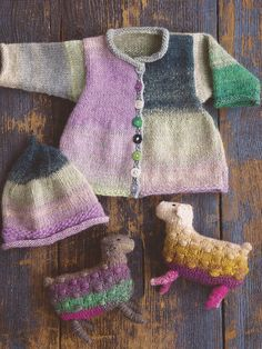 Baby Girl Cardigan, Rolled Edged Hat, toy Sheep.