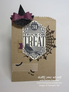 Tricks & Treats container made with Witches' Night stamp set designed by Janet Baker…the hat is a clip to open and close the bag! #stampyourartout #stampinup -  Stampin' Up!® - Stamp Your Art Out! www.stampyourartout.com