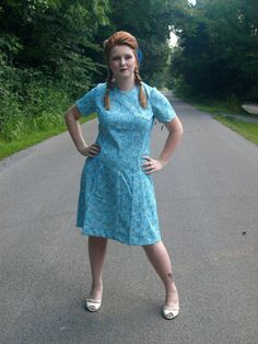 Deadstock Vintage Blue Tan Dress New With Tags Swirl by JaneRose