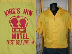 Reserve for Jake Vintage 50s yellow cotton embroidered bowling shirt mens size xlarge via Etsy