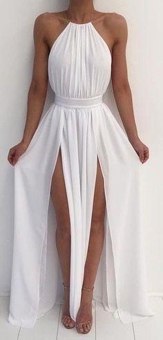 Simple A-line Prom Dress,sexy Prom Dress,cheap Prom Dress,backless Long Prom Dress,chiffon Evening Dress White Maxi Dresses, Sexy Dresses, Cute Dresses, Beautiful Dresses, White Dress, White Party Dresses, White Outfit Party, White Bridesmaid Dresses Long, Split Prom Dresses