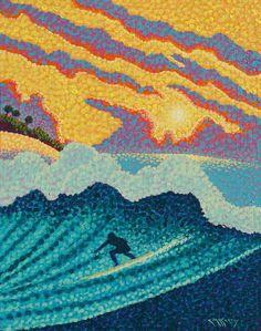 Pointillist Surf Art Original 11x14 Painting by Ed McCarthy free shipping
