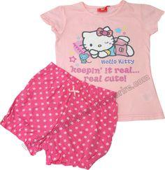 Pyjama Hello Kitty t-shirt et short rose pale ensemble pour enfant fille marque officiel par UnCadeauUnSourire.com