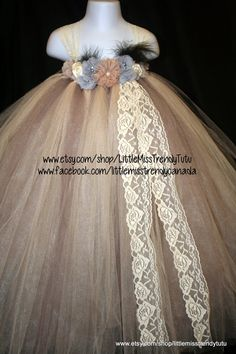 Couture Tutu Dress Tutu Dress Flower Girl by LittleMissTrendyTutu