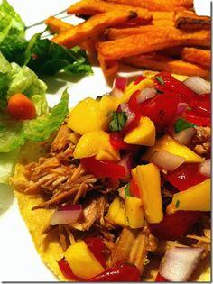 BBQ chicken topped with delicious homemade mango pico de gallo!  Love summer...