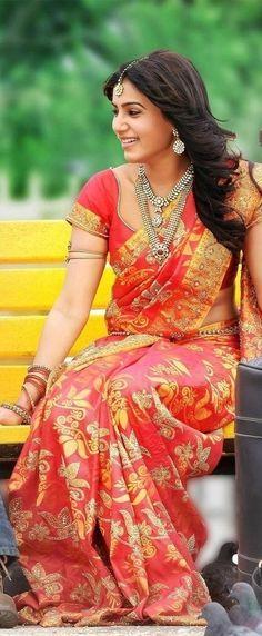 South Indian bride. Temple jewelry. Jhumkis.Red silk kanchipuram sari. Tamil bride. Telugu bride. Kannada bride. Hindu bride. Malayalee bride.Kerala bride.South Indian wedding. Samantha Prabhu.
