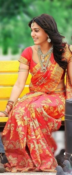 Samantha in Red Silk Saree