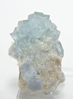 Pale Blue Fluorite Crystals Mineral Specimen