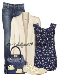 """""""Blue and Beige"""" by mhuffman1282 ❤ liked on Polyvore featuring 7 For All Mankind, Vero Moda, Wallis, Brooks Brothers and Office"""