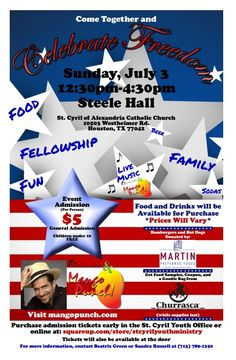 Join us this Sunday, July 3 at St. Cyril Church to celebrate the Spirit of Freedom and Fellowship that Independence Day is all about. We will play from 12:30pm - 4:30pm aiming to bring together all the parishioners: those that attend the mass in English with those who attend the mass in Spanish... They plan to serve hamburgers, hot dogs and treats for the kids... #MangoPunch #Houston #Concert #LatinBand