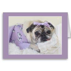 Sleeping Princess Pug Card by Pugs and Kisses