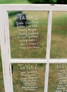 Table assignments - recommend this a lot these days for ALL the vintage weddings this season! 