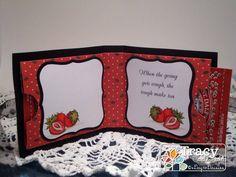 Strawberries and Milk Small tea bag holder card inside