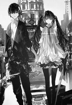 Black and white anime couple