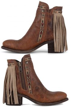 brown corral fringe ankle boots