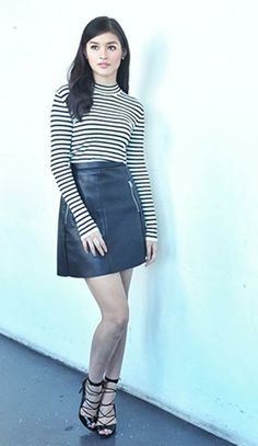 Classic Stripes Top with Leather Mink Skirt Fashion of Liza Soberano