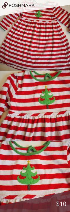 J khaki striped red white Christmas tree dress Long sleeve jersey dress. Keyhole neckline. Embroidered Christmas tree. Small blue ink dot. 4T J. Khaki Kids Dresses Casual