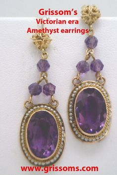 Victorian era antique Amethyst and pearl earrings. Bring a Toys for Tots donation and get 25% off between now and December 13th.