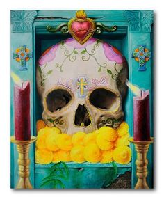 Robert Valadez Solid-Faced Canvas Print Wall Art Print entitled Calavera, None Canvas Wall Art, Wall Art Prints, Fine Art Prints, Canvas Prints, Collages, Art Populaire, Day Of The Dead Skull, Chicago Artists, Chicano Art