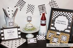 Black and white party ideas | Kate Spade Inspired DIY Party and Stationery - great for bridal showers, office party, or birthday soiree