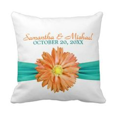 Gerbera Daisy Wedding Couple Personalized Pillow Love & Wedding Pillows | Pretty Throw Pillows #wedding #bride #groom #love See our full collection www.prettythrowpillows.com
