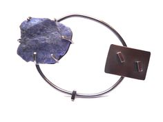silver and sodalite brooch