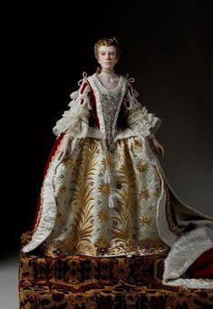 Full length color image of Queen Charlotte Sophia 1761 aka. Charlotte Sophia of Mecklenburg-Strelitz consort of George III of Great Britain, by George Stuart. Rey George, King George, Reine Victoria, Queen Victoria, Historical Costume, Historical Clothing, Queen Of England, Period Outfit, British History