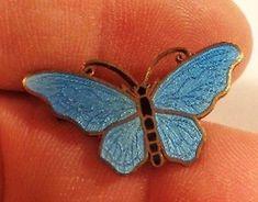 Delicate 1 1/8 in Enameled Swedish 1952 Sterling Butterfly Pin by Sporrong NR~~