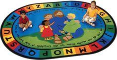 Jesus Loves the Little Children Oval Rug 6' x 9' | Carpets for Kids