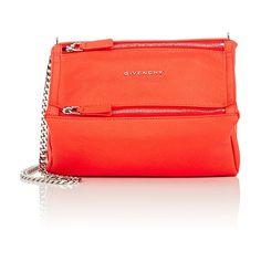 Givenchy Women's Pandora Mini Chain Crossbody ($1,290) ❤ liked on Polyvore featuring bags, handbags, shoulder bags, orange, mini bag, mini messenger bag, leather mini messenger bag, orange leather bag and red bags