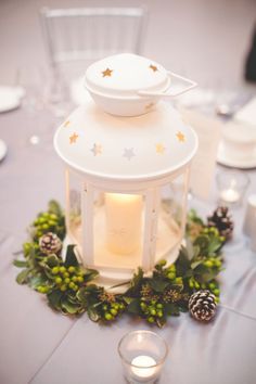 Decorating your wedding on a budget? These IKEA wedding decor ideas take cheap IKEA products and give them a wedding-worthy makeover for perfect finishing touches to your big day. Lantern Centerpiece Wedding, Winter Wedding Centerpieces, Wedding Lanterns, Christmas Centerpieces, Diy Wedding Decorations, Table Decorations, Centerpiece Ideas, Centerpiece Flowers, Wedding Ideas