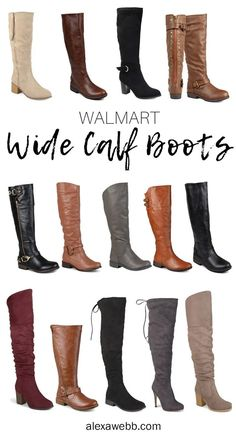 Wide calf and extra wide calf boots from Walmart in mid-calf, knee high, and even over-the-knee styles. They have riding boots too! Wide Calf Boots, Flat Boots, Knee High Boots, Over The Knee Boots, Riding Boot Outfits, Riding Boots, Studded Boots, Fall Shoes, Calves