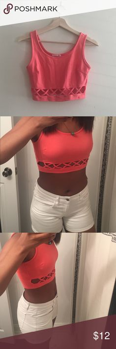 Soprano Criss Cross Crop Top Beautiful coral color, very stretchy. Bought form Nordstrom Soprano Tops Crop Tops