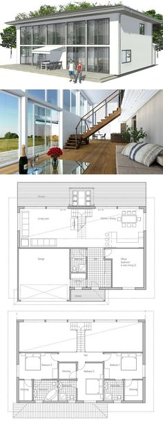 Modern Contemporary house with big windows and abundance of natural light. Floor Plans from ConceptHome.com