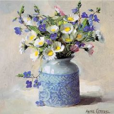 Daisies with Speedwell | Mill House Fine Art – Publishers of Anne Cotterill Flower Art