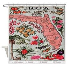 Vintage Florida Fruit Flower Map Shower Curtain