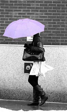 Purple umbrella woman NYC - Anahi DeCanio