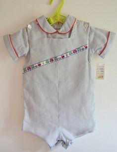 Vintage 1960s Romper 18months Baby Seersucker Outfit with Choo Choo Train Ribbon