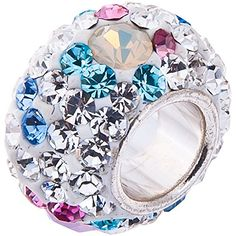 Opal and Swarovski Crystal Charm - 925 Sterling Silver. Fits Pandora and most other European Bracelets.