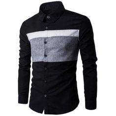Turn Down Collar Color Spliced Long Sleeve Shirt For Men ($15) ❤ liked on Polyvore featuring men's fashion, men's clothing, men's shirts, men's casual shirts, mens long sleeve casual shirts, mens long sleeve collared shirts, mens longsleeve shirts, mens long sleeve shirts and mens collared shirts