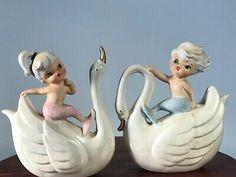 Swans have opalescent sheen. Vintage Wall Art, Vintage Walls, Vintage Decor, Mermaid Poster, Deep Sea Creatures, Mermaid Fairy, Mermaid Under The Sea, Vintage Mermaid, Ceramic Teapots